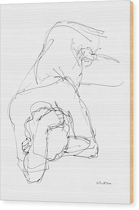 Wood Print featuring the drawing Nude Male Drawings 7 by Gordon Punt