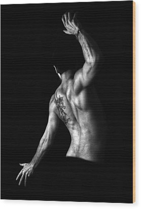 Nude Man Wood Print by Sumit Mehndiratta