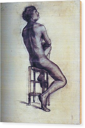 Nude Man Sketch Wood Print by Sumit Mehndiratta