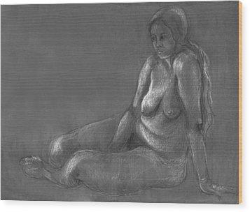 Nude Of A Real Woman In Black Wood Print by Rachel Hershkovitz