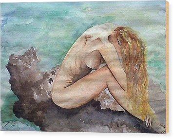 Nude On A Rock II. Wood Print by Paula Steffensen