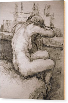 Nude On The Window Wood Print by Alfons Niex
