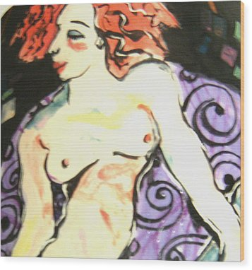 Nude Redhead Wood Print by Patricia Lazar