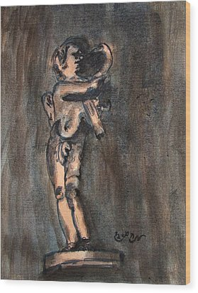 Nude Sculpture Young Boy And Pet Duck Religious Symbolism In Orange And Blue Vatican City Wood Print by M Zimmerman