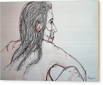 Nude Sitting Wood Print