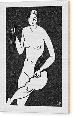 Nude Sketch 12 Wood Print by Leonid Petrushin