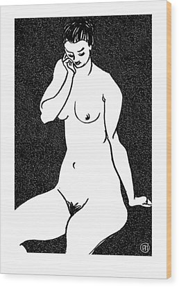 Nude Sketch 14 Wood Print by Leonid Petrushin
