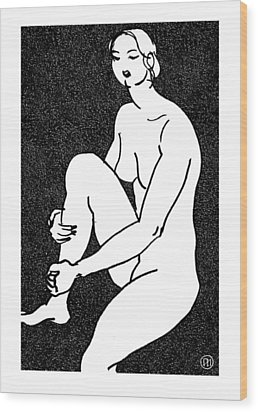 Nude Sketch 16 Wood Print by Leonid Petrushin