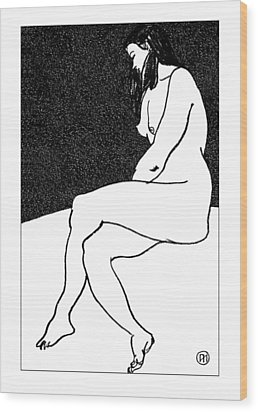 Nude Sketch 26 Wood Print by Leonid Petrushin