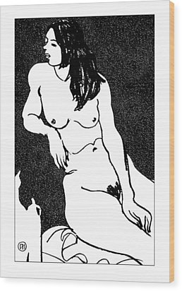 Nude Sketch 32 Wood Print by Leonid Petrushin