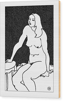 Nude Sketch 34 Wood Print by Leonid Petrushin