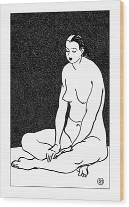 Nude Sketch 46 Wood Print by Leonid Petrushin