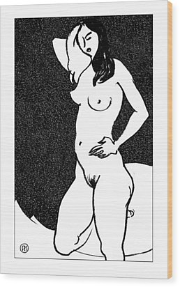 Nude Sketch 47 Wood Print by Leonid Petrushin