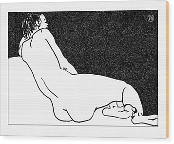 Nude Sketch 49 Wood Print by Leonid Petrushin