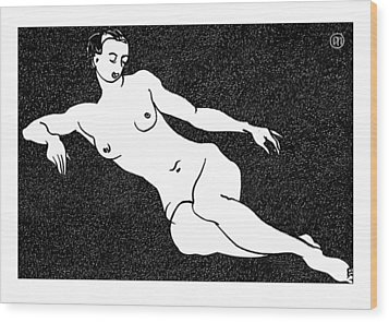 Nude Sketch 54 Wood Print by Leonid Petrushin