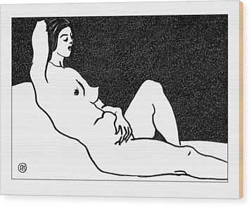 Nude Sketch 61 Wood Print by Leonid Petrushin