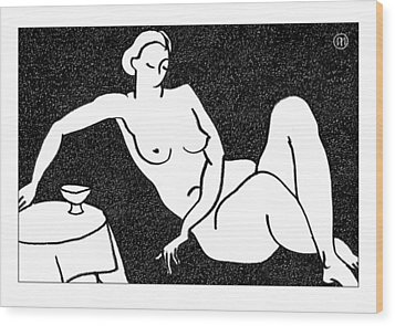 Nude Sketch 62 Wood Print by Leonid Petrushin