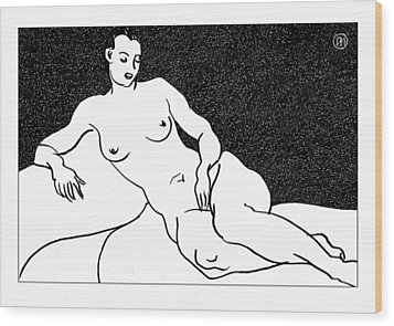 Nude Sketch 63 Wood Print by Leonid Petrushin