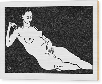 Nude Sketch 68 Wood Print by Leonid Petrushin