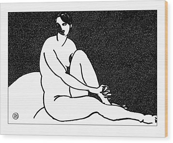 Nude Sketch 69 Wood Print by Leonid Petrushin