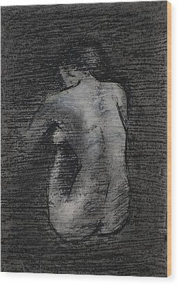 Wood Print featuring the drawing Nude Study....miniature by Lynn Hughes