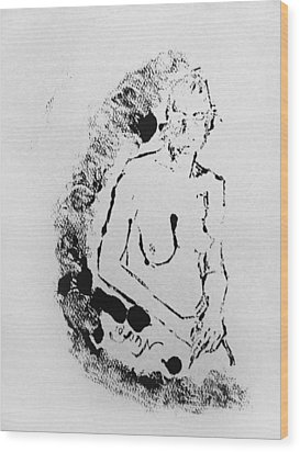 Wood Print featuring the painting Nude Young Female That Is Mysterious In A Whispy Atmospheric Hand Wringing Pose Highly Contemplative by M Zimmerman