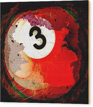Number 3 Billiards Ball Wood Print by David G Paul