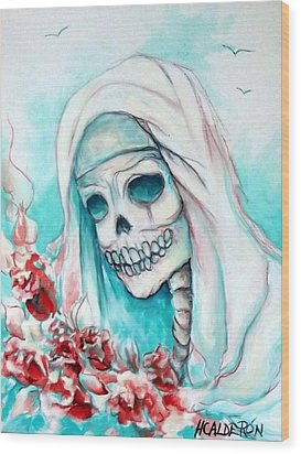 Nun With Flowers Wood Print by Heather Calderon