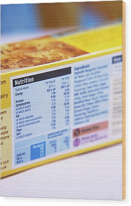Nutrition Label Wood Print by Veronique Leplat