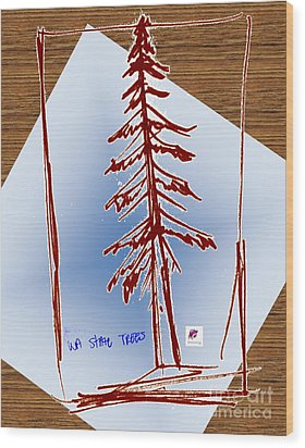 Nw Evergreen Tree Wood Print