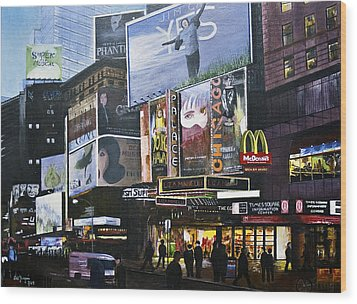Wood Print featuring the painting Ny Ny At Dusk by Stuart B Yaeger