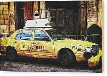 Ny Taxi Cab Wood Print by Fiona Messenger
