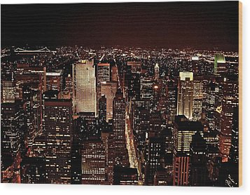 Nyc At Night Wood Print by Rawimage Photography