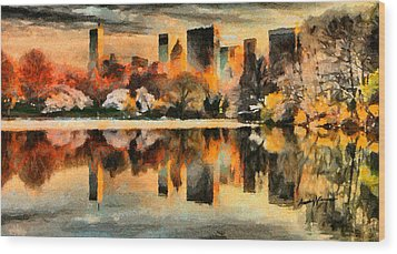 Nyc At Sunset Wood Print by Anthony Caruso