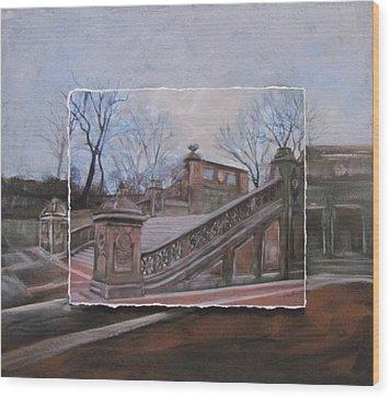 Nyc Bethesda Stairs Layered Wood Print by Anita Burgermeister
