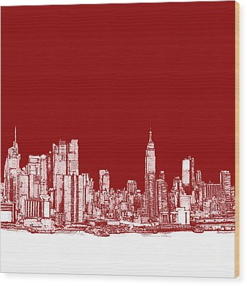 Nyc In Red N White Wood Print by Adendorff Design