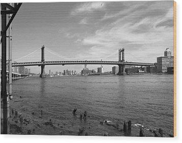 Nyc Manhattan Bridge Wood Print by Mike McGlothlen