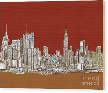 Nyc Red Sepia  Wood Print by Adendorff Design