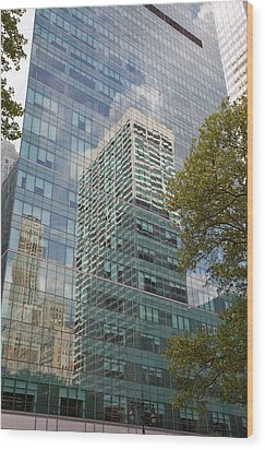 Nyc Reflection 2 Wood Print by Art Ferrier