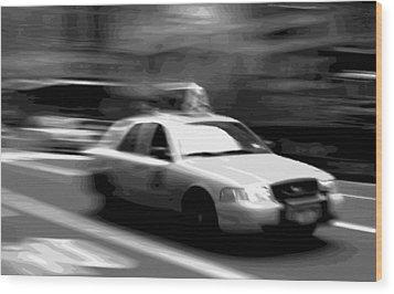 Nyc Taxi Bw16 Wood Print by Scott Kelley