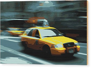Nyc Taxi Color 16 Wood Print by Scott Kelley