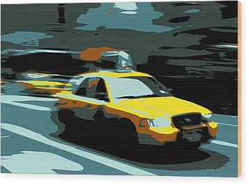 Nyc Taxi Color 6 Wood Print by Scott Kelley