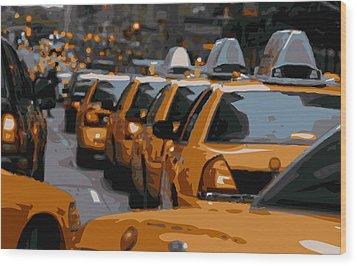 Nyc Traffic Color 16 Wood Print by Scott Kelley