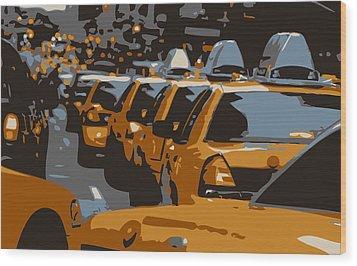 Nyc Traffic Color 6 Wood Print by Scott Kelley