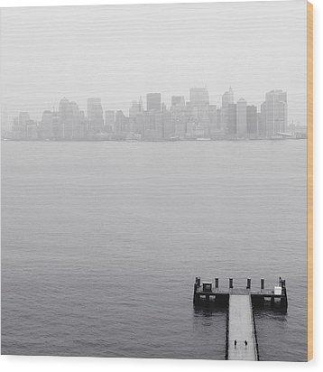Nyc View From Liberty Island Wood Print by Nina Papiorek