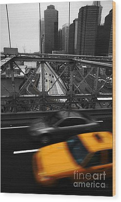 Nyc Yellow Cab Wood Print by Hannes Cmarits