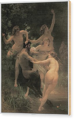 Nymphs And Satyr Wood Print by Adolphe William Bouguereau