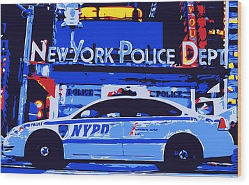 Nypd Color 6 Wood Print by Scott Kelley