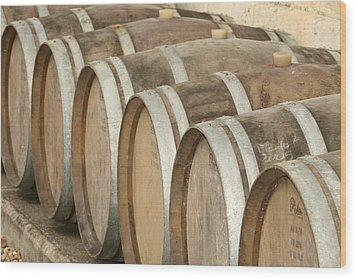 Oak Wine Barrels In Castillion La Bataille, France Wood Print by Steven Morris Photography