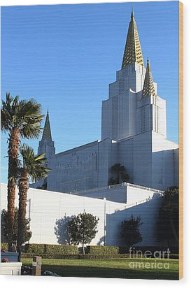 Oakland California Temple . The Church Of Jesus Christ Of Latter-day Saints . 7d11329 Wood Print by Wingsdomain Art and Photography